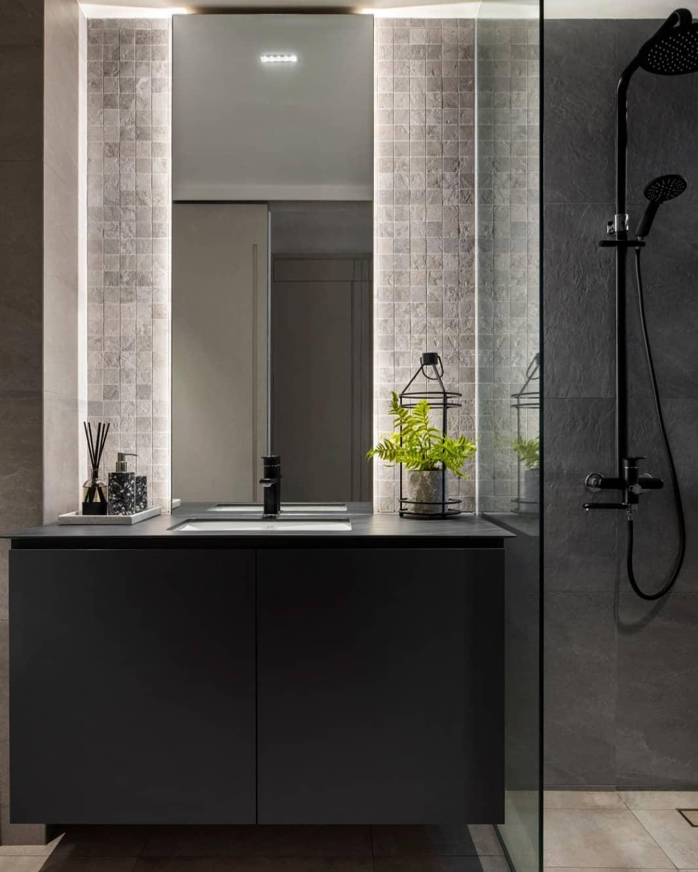 HDB Toilet Renovation Tips - Tall Backlit Mirror