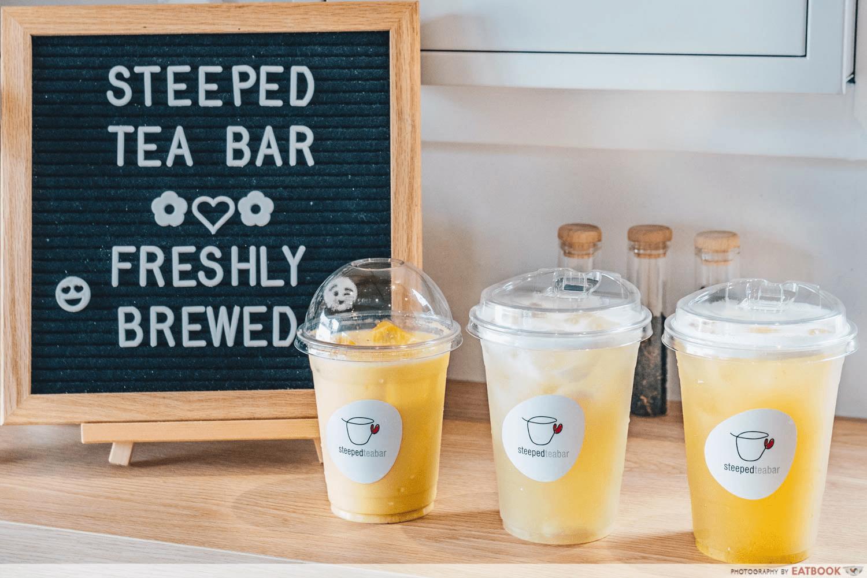 minimalist cafes singapore - STEEPED Tea Bar drinks