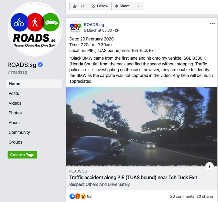 roads.sg appeal for witnesses
