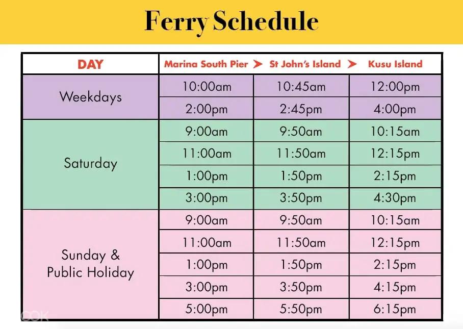 kusu lazarus st john's ferry schedule