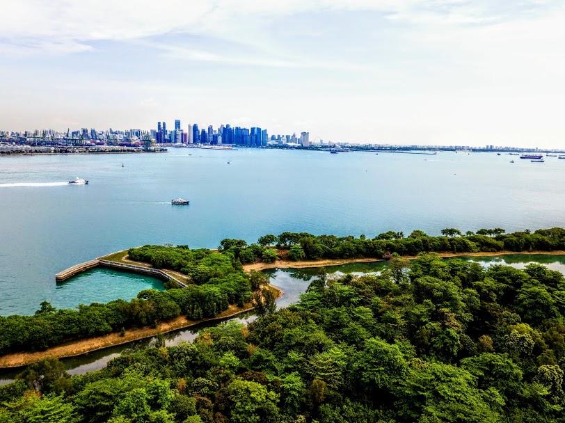 lazarus island drone view of singapore cbd skyline