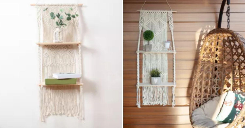 Woven hanging shelf