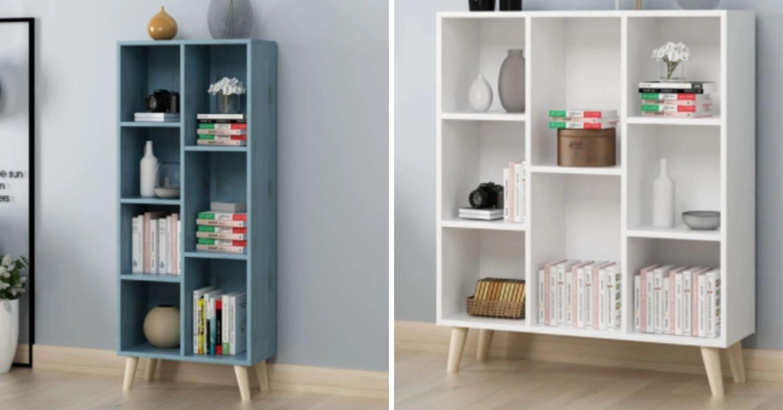 Washed blue bookshelf ezbuy