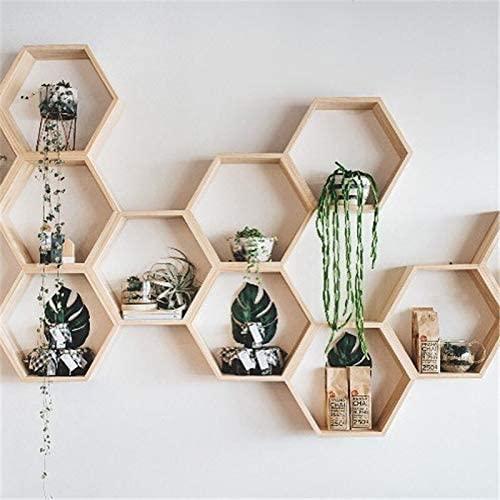 Hexagonal wall-mounted shelves