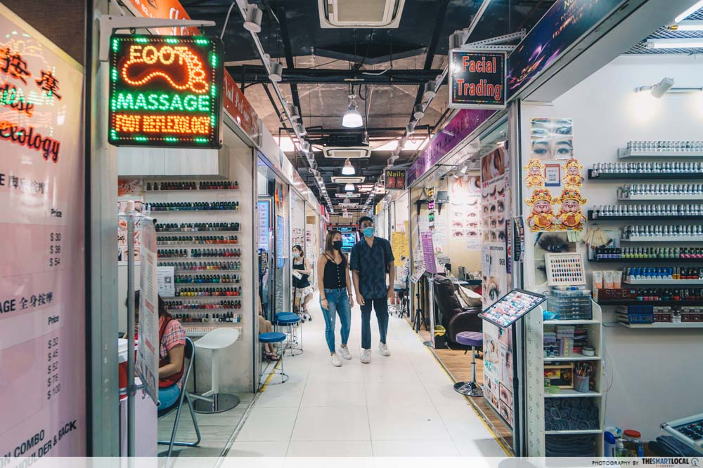 the massage parlours and nail salons on level 3
