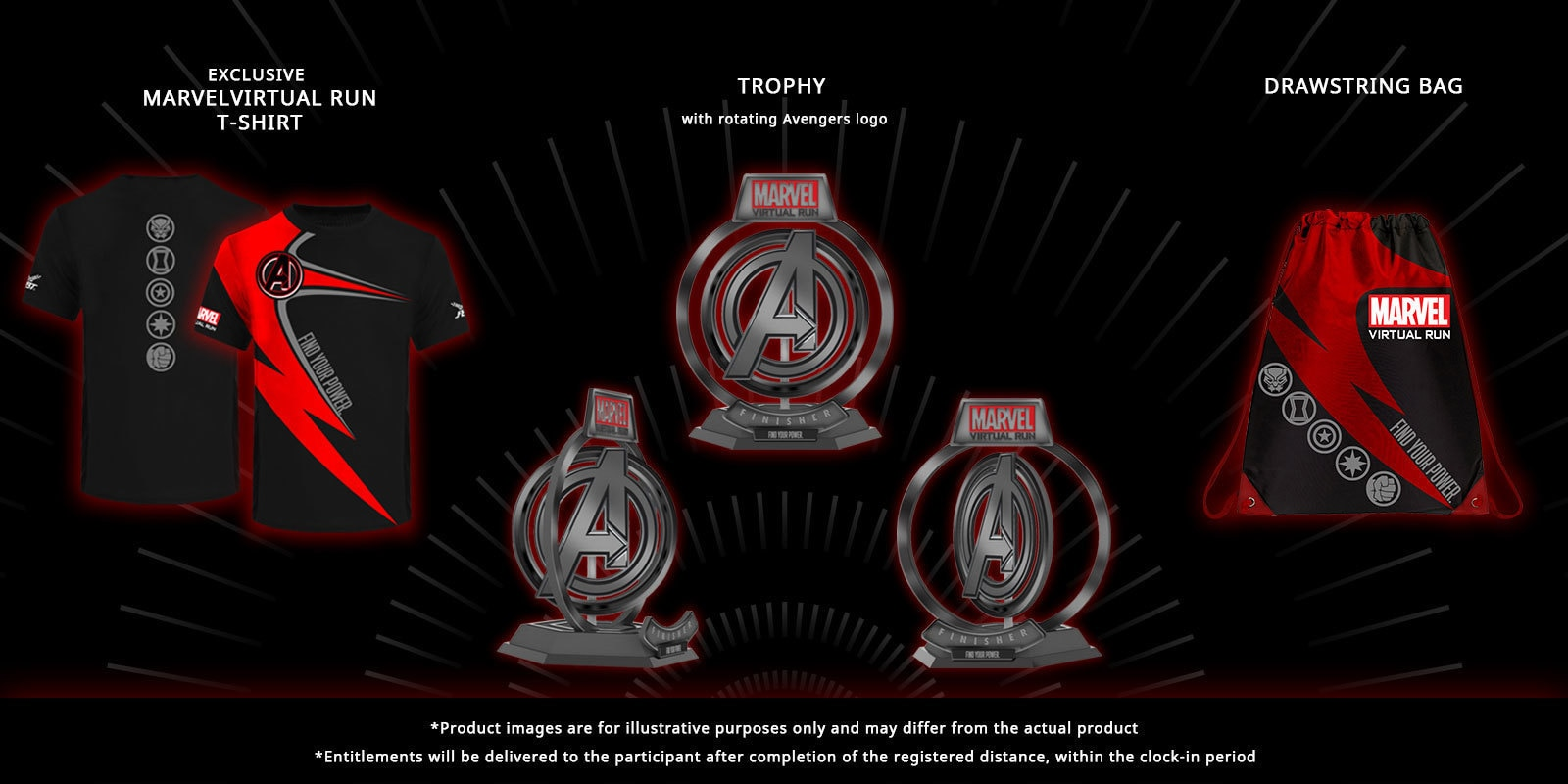 race entitilements including a drawstring bag, t-shirt and trophy