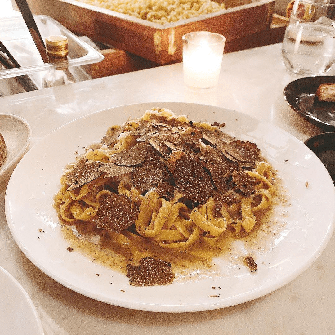 truffle fettuccini at pasta bar