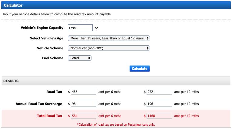 road tax calculator