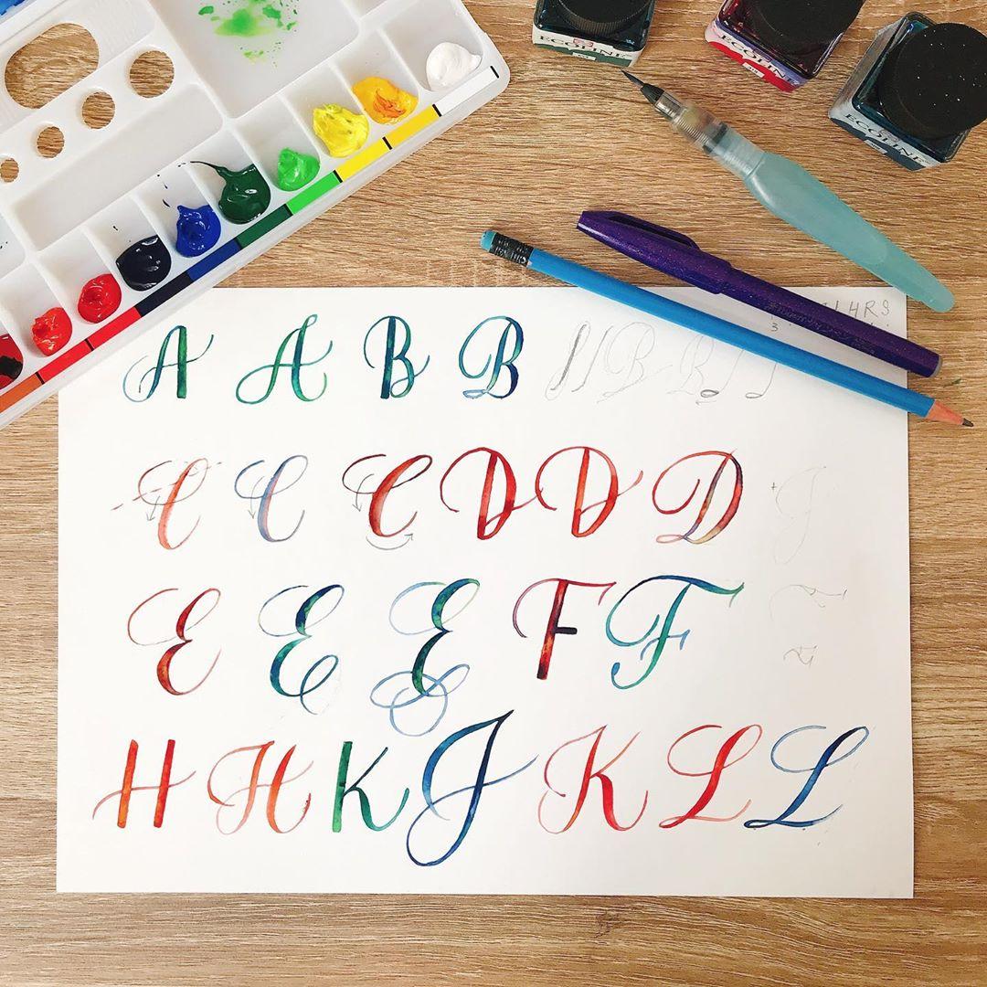 watercolour painting classes singapore - brush lettering