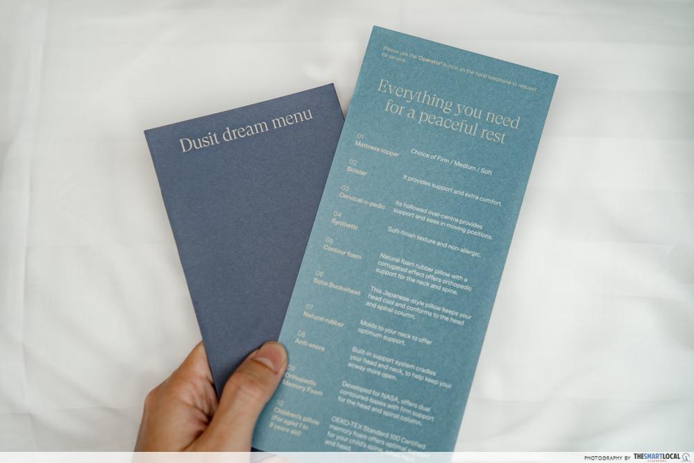 Dusit Thani Laguna Singapore - customisable pillow menu