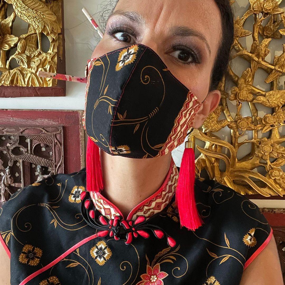 matching cheongsams and masks from al.ma.lu