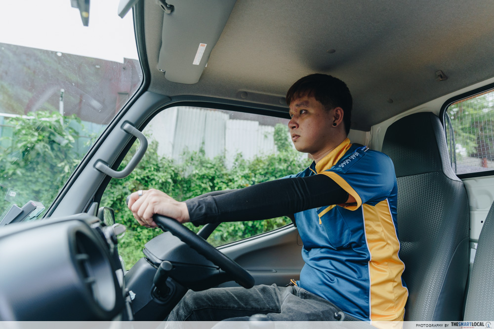 driving a lorry to delivery location