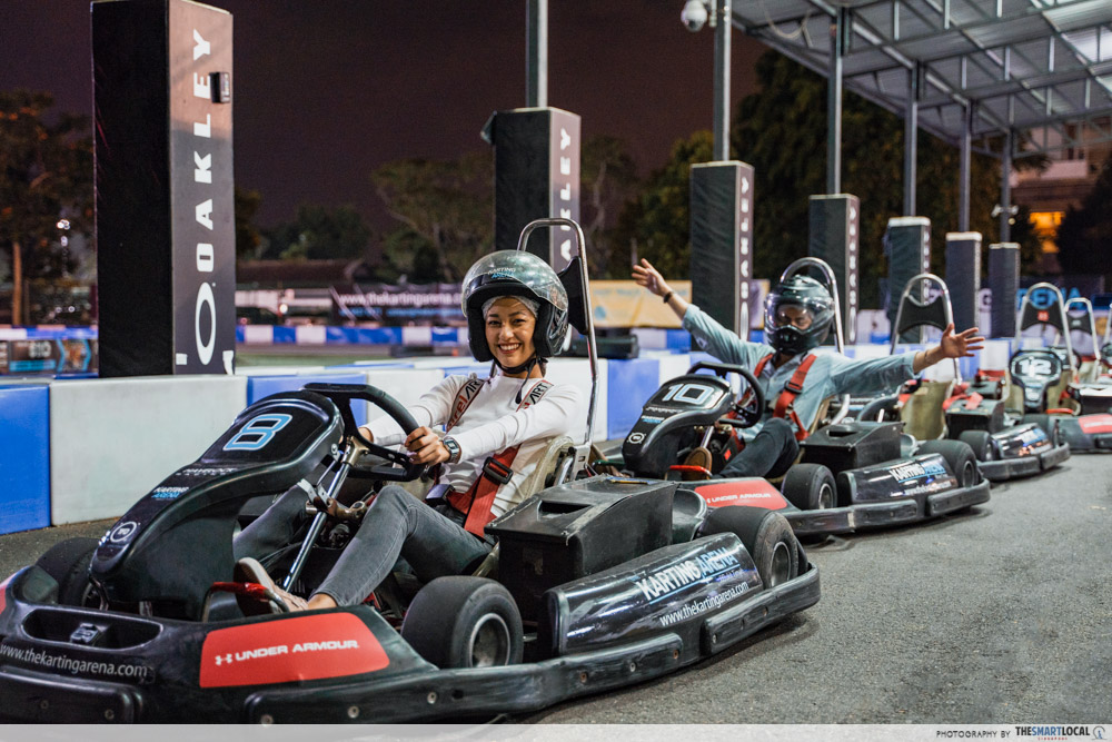 Go kart at the karting arena - late night date ideas