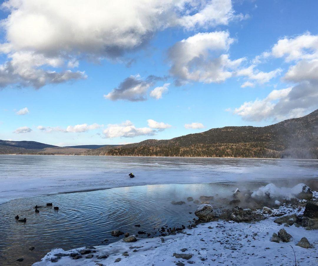 a frozen-over lake akan