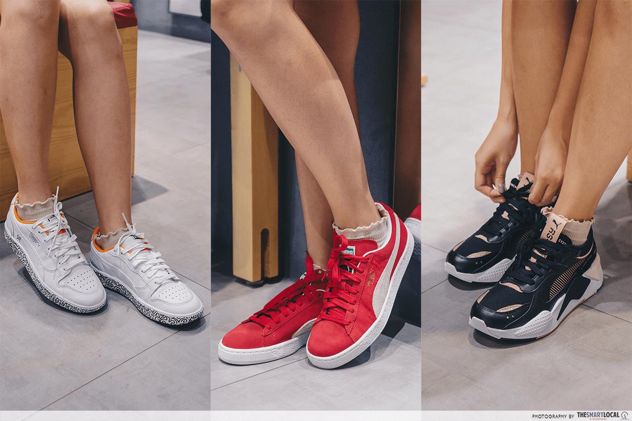 Three styles of Puma shoes