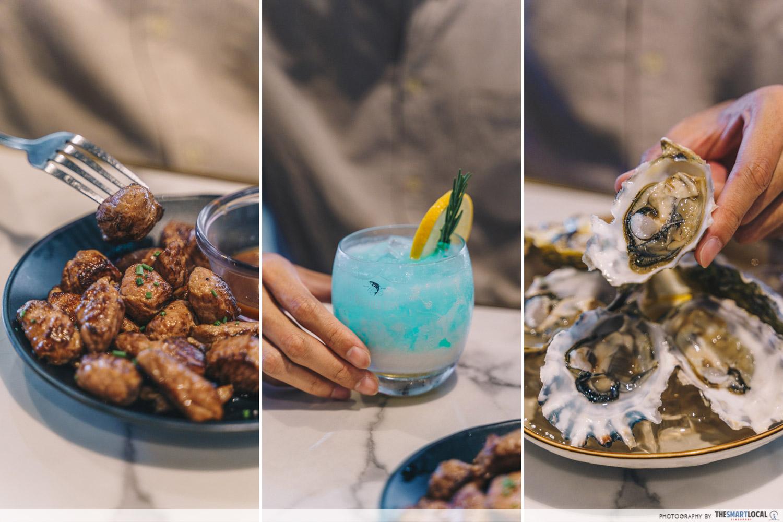Tipsy Bird Paya Lebar Wagyu Beef Cubes ($18), Blue Bird cocktail ($18), Canadian Oysters ($2 each)