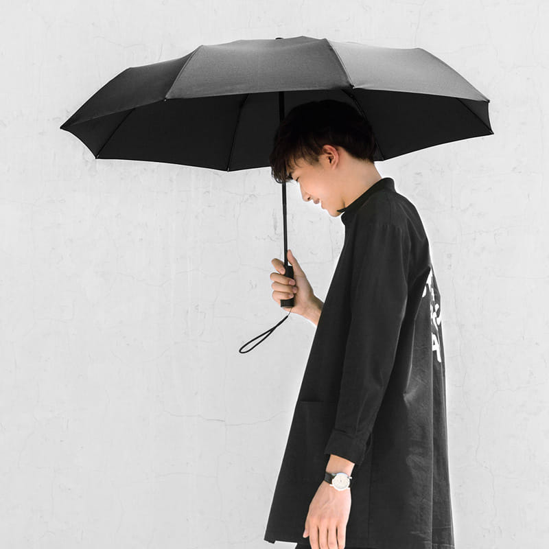 mi automatic umbrella being used by a man