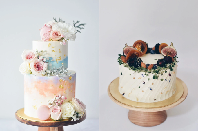 watercolour and rustic fruit garden cake from zee & elle