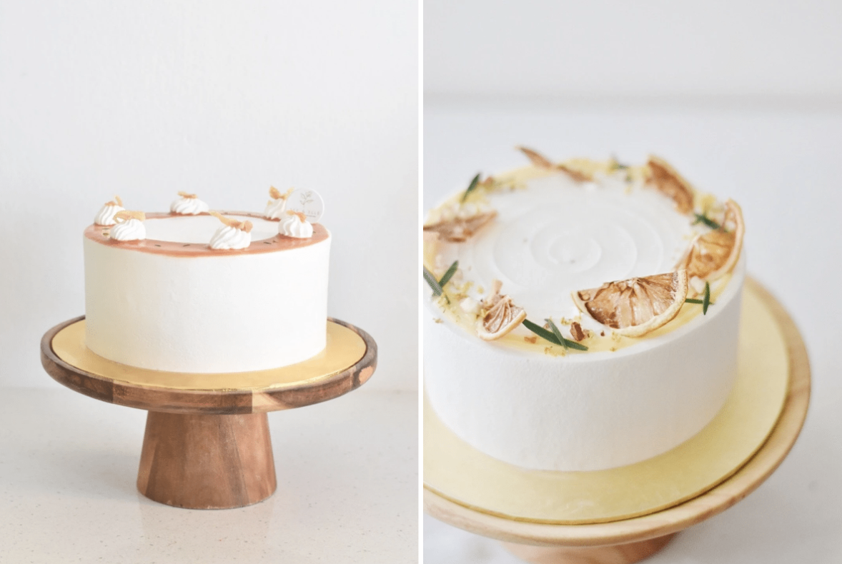 zee & elle cake delivery - guava lychee fresh cream cake and honey yuzu fresh cream cake