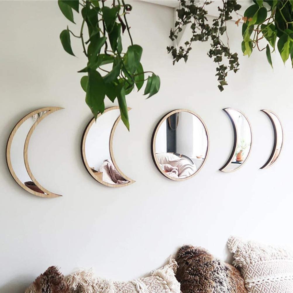 Scandinavian moon phase mirror