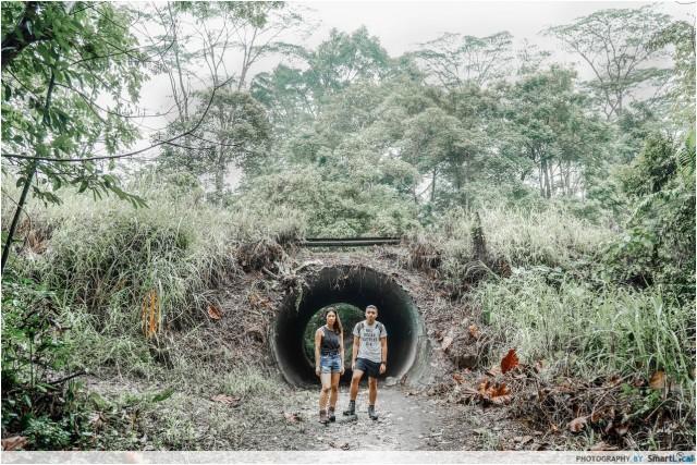 mountain biking trail tunnel