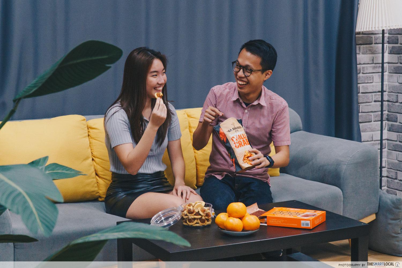 talents sharing CNY snacks