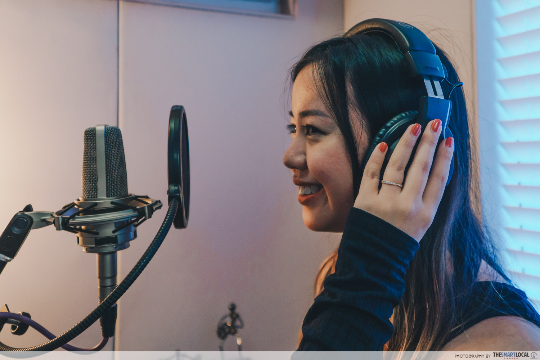 girl singing in a recording studio singapore