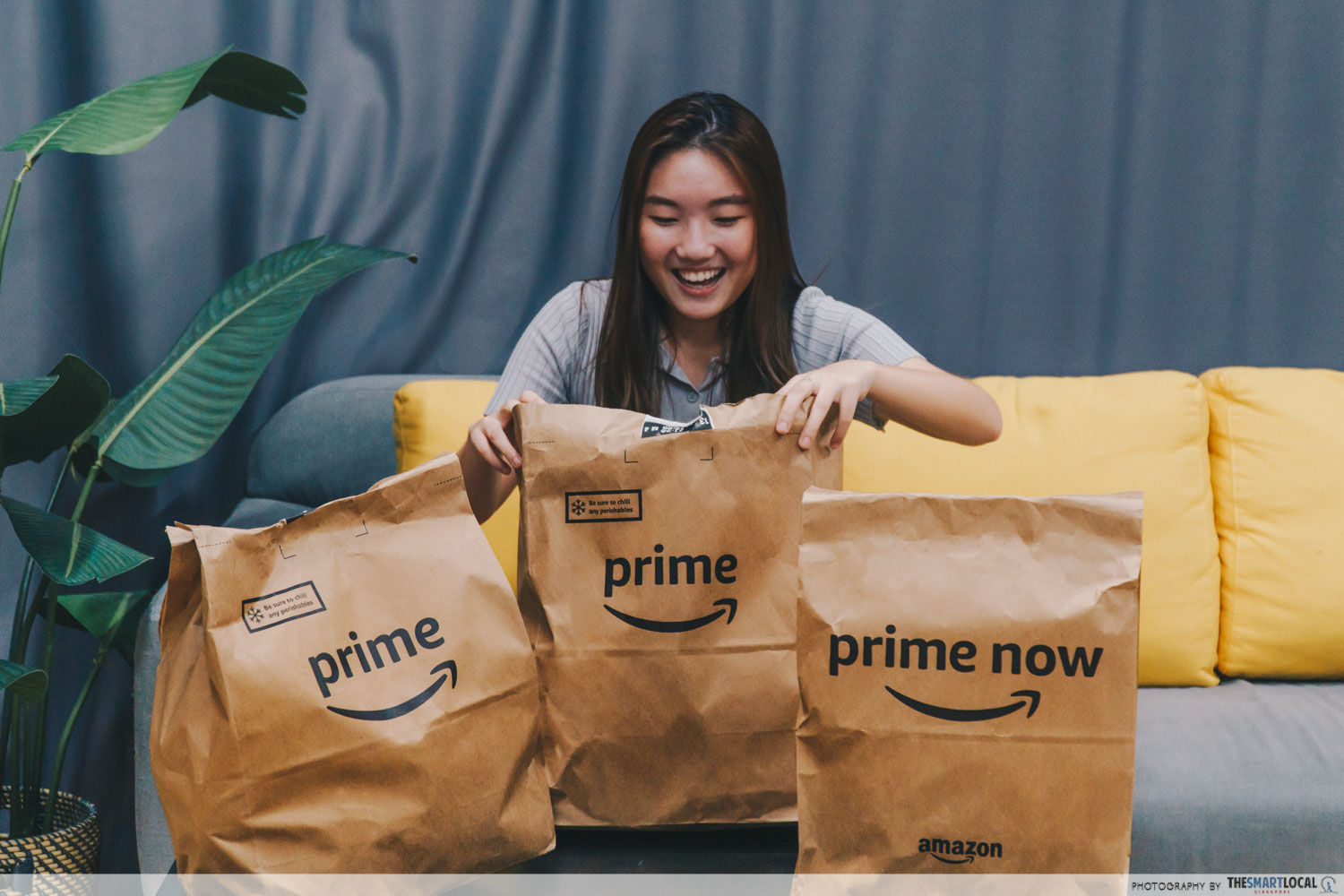 talent happy to receive Amazon fresh delivery