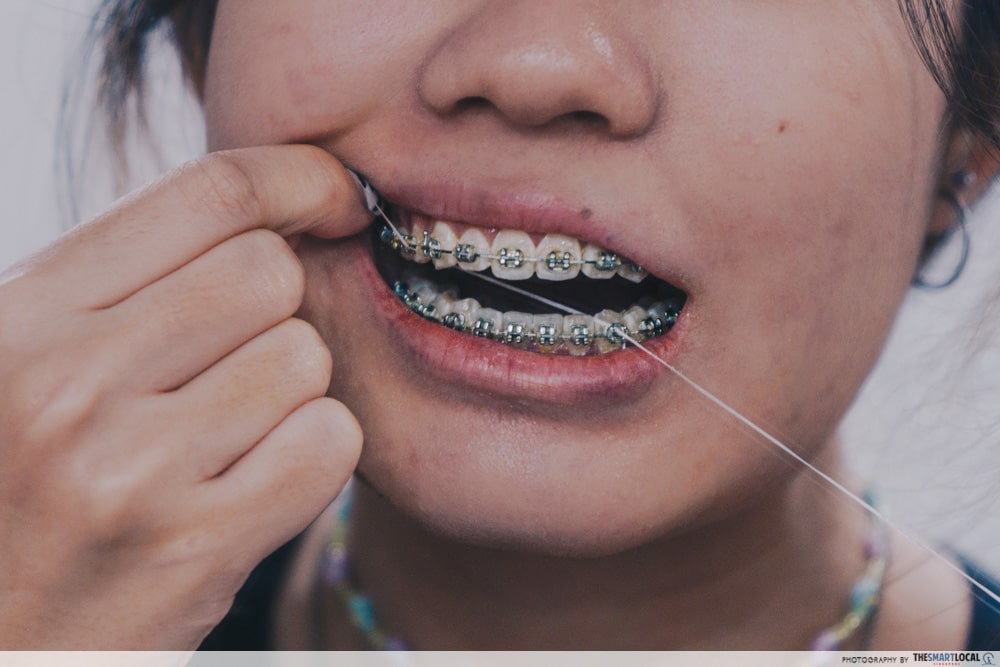 Flossing in hard to reach areas