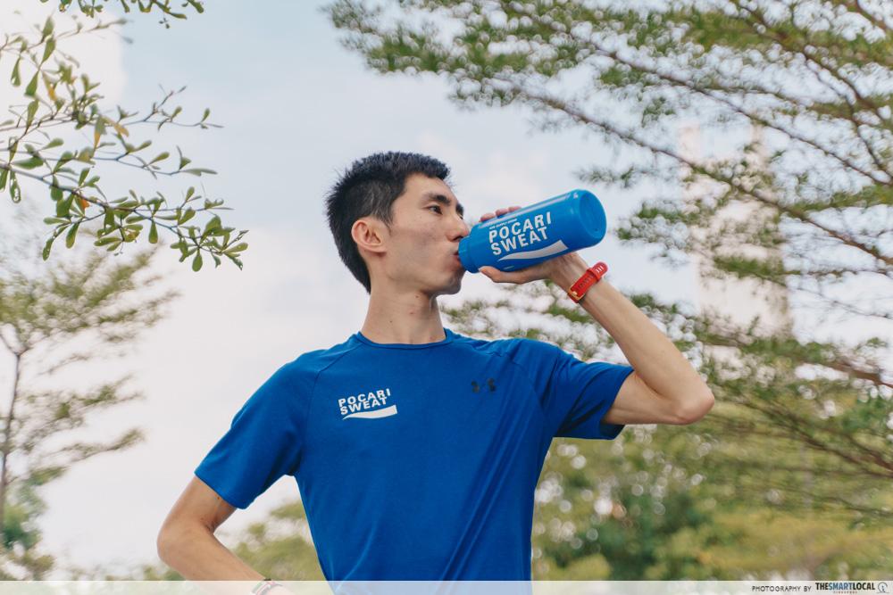 ippt running tips - Drinking Pocari Sweat