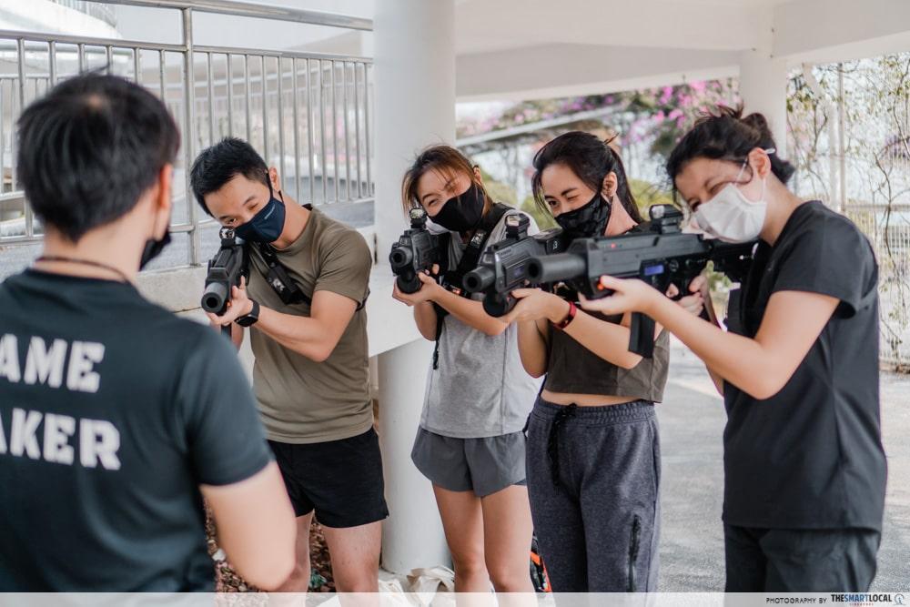 Testing the laser tag guns