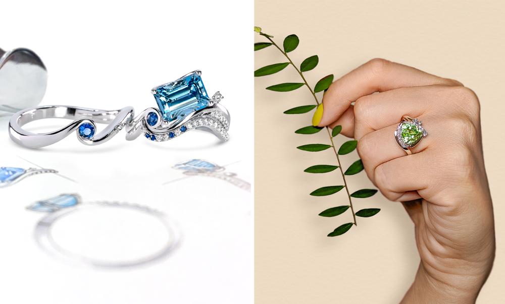 Aquamarine Peridot - Unique Engagement Rings