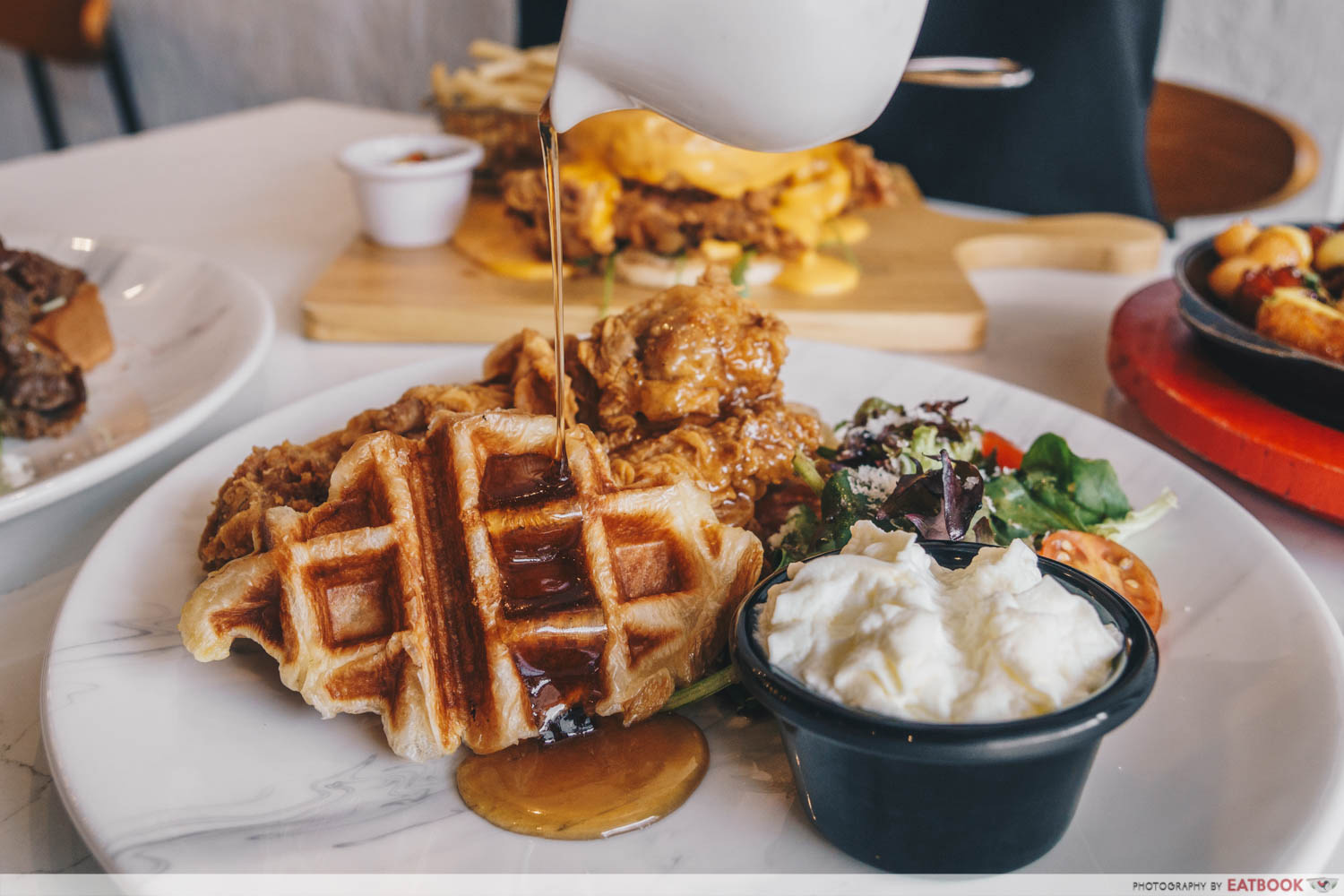 chir cafe fried chicken croissant waffle