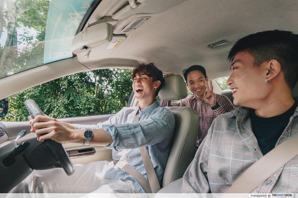 car roadtrip with friends in Singapore