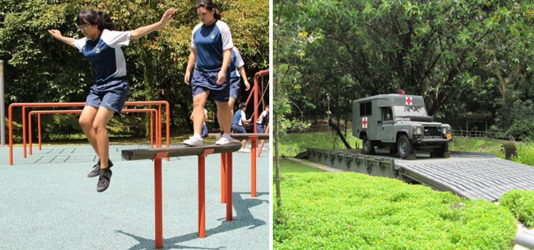 Singapore Discovery Centre military vehicle exhibit and SOC standard obstacle course