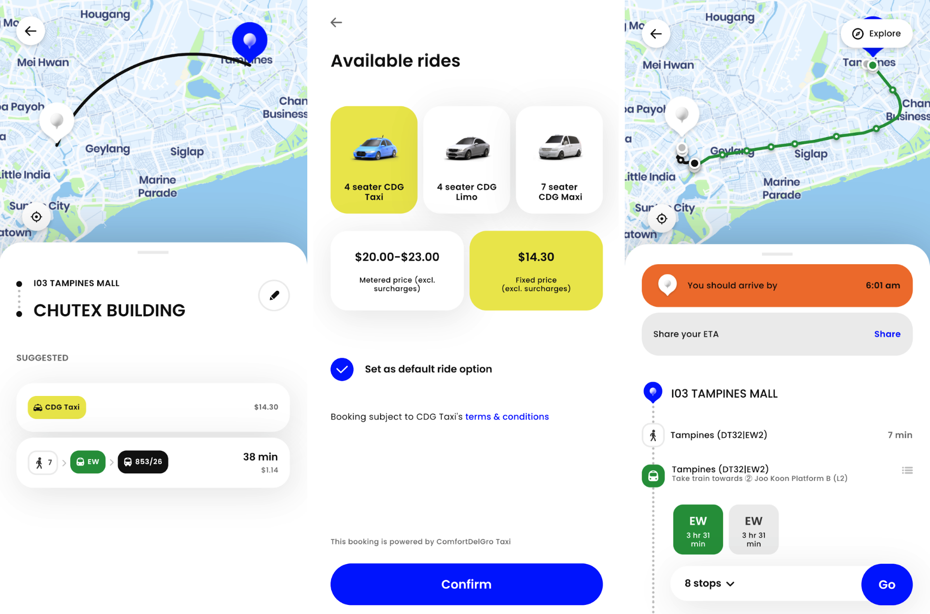 zig app - transport options and taxi booking interface
