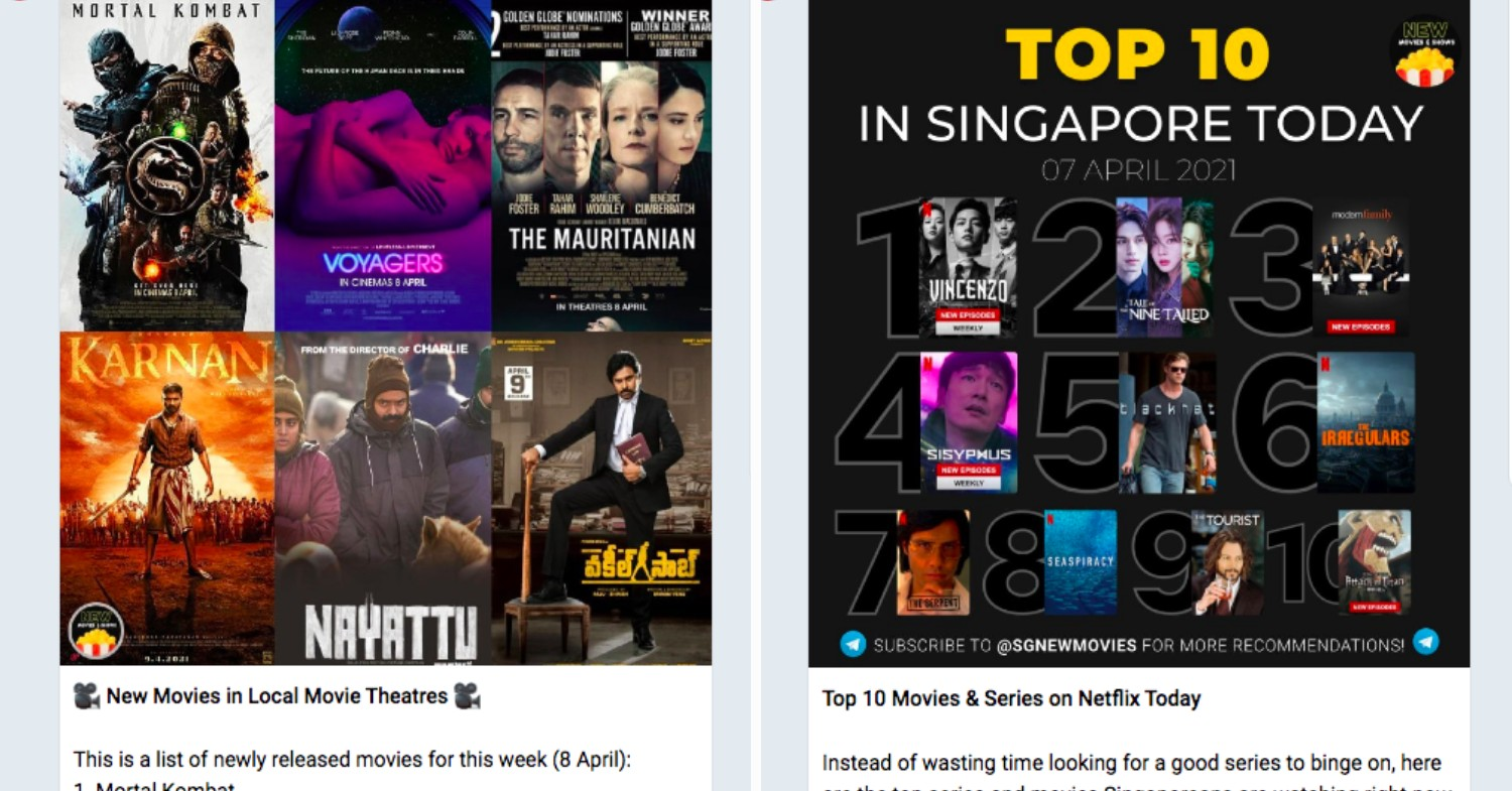 Lesser known Telegram channels - SG New Movies & Shows