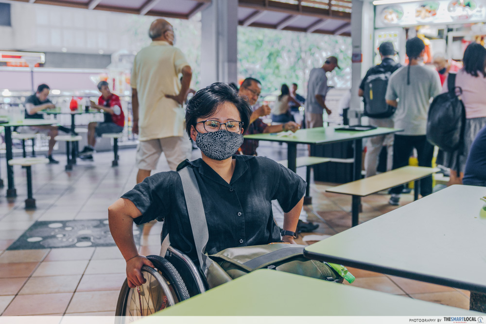 wheelchair-friendly tables and seats at hawker centre