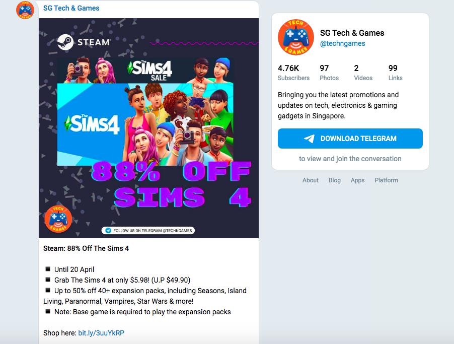 Lesser known Telegram channels - SG Tech & Games