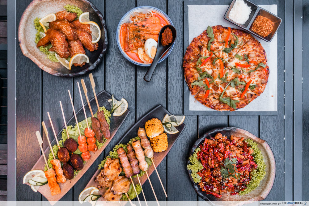 CHIJMES date ideas - Tin Box Food including wings, skewers, laksa and pizza