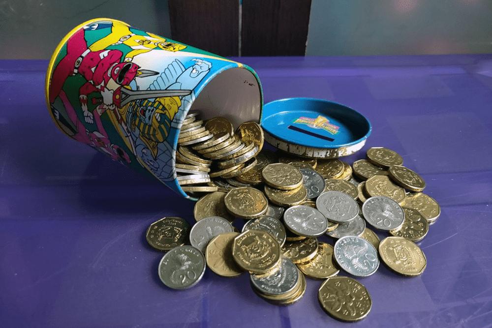 Piggy Bank Coins Old-School Singapore Tin Bank
