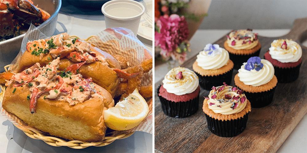 Dancing Crab Lobster Roll, Plain Vanilla Cupcakes