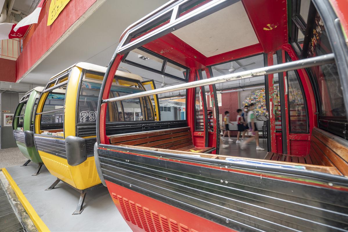 coolest schools in singapore - cable car cabins or gondolas in Qihua Primary School