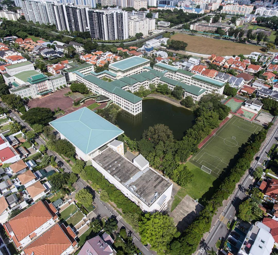 coolest schools in singapore - chung cheng high school (main) drone aerial shot of lake