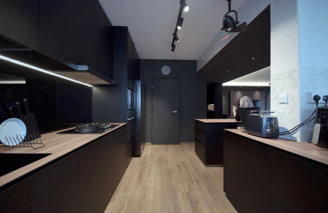 dark cabinets and lights