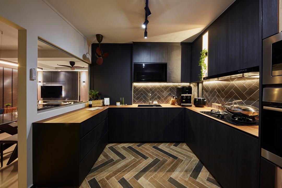 kitchen with herringbone pattern