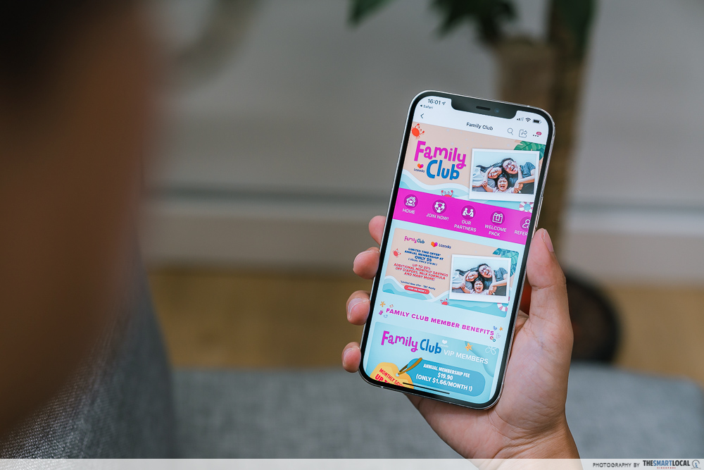 Lazada Family Club's app interface, showcasing the home screen