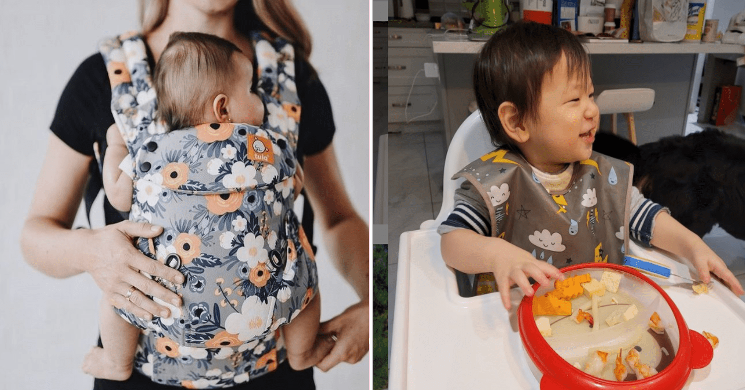 An example of Baby Tula Carrier on the left, together with an example of Skip Hop Mealtime Set on the right