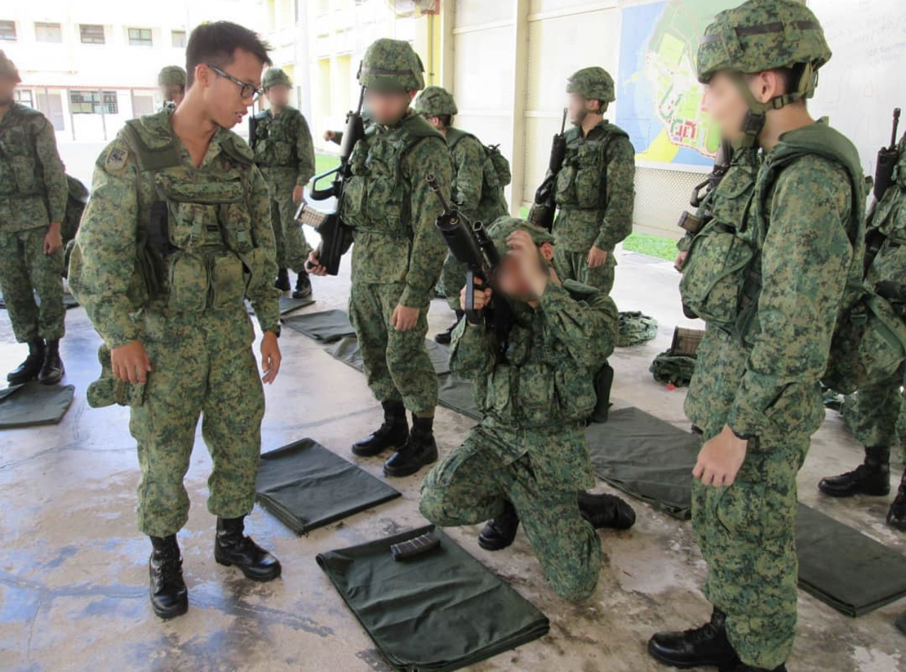 singapore chinese heritage - rifle drill in army BMT