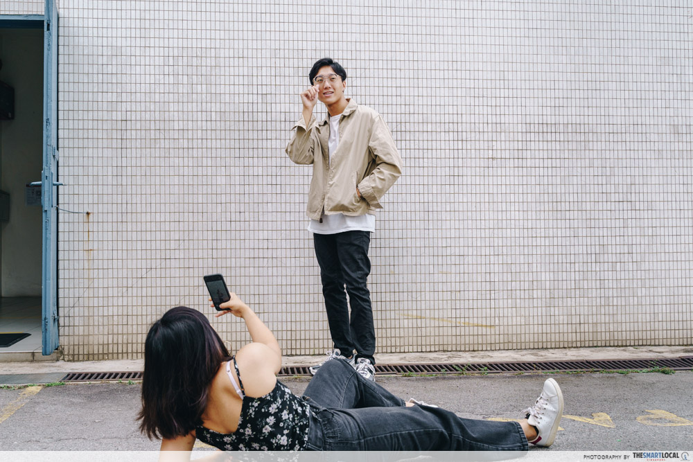 Friend Helping Take Photoshoot